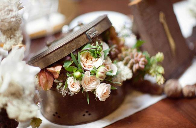 flowers in vintage box