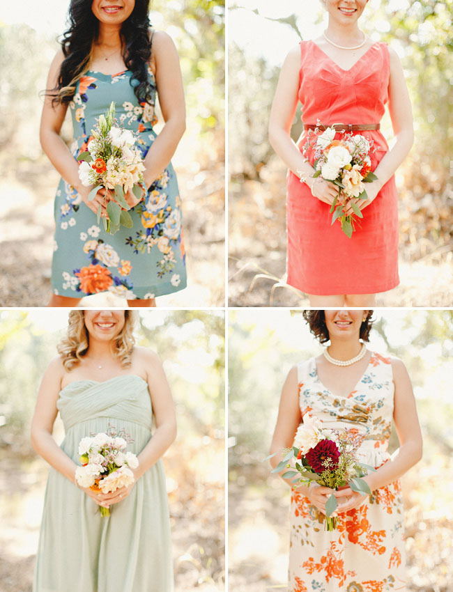 mismatched floral and solid bridesmaids