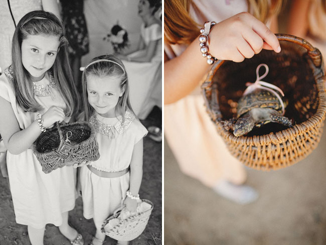 flower girls with baskets, turtle wedding