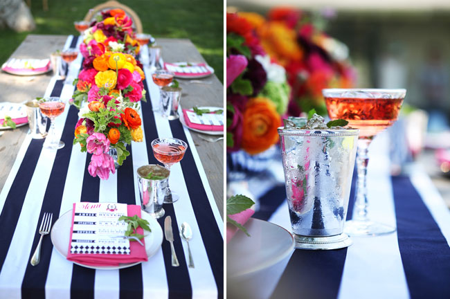 Kentucky Derby Inspiration Striped Table Runner