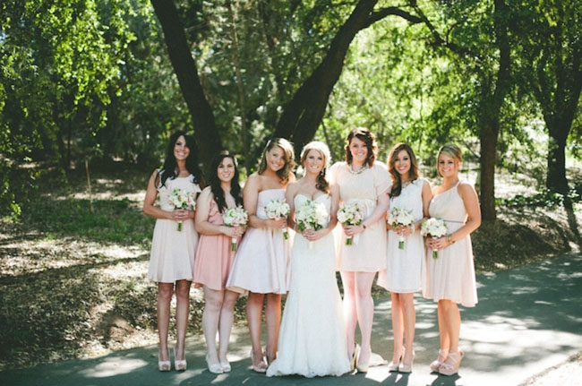 bridesmaids in neutrals and pinks