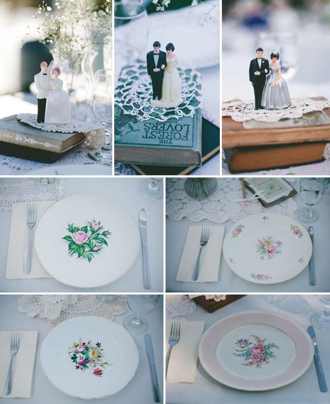 antique cake toppers, vintage plates