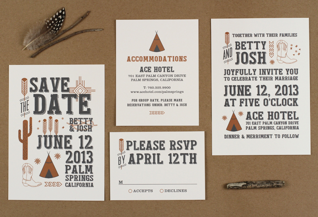 desert sky wedding invitations