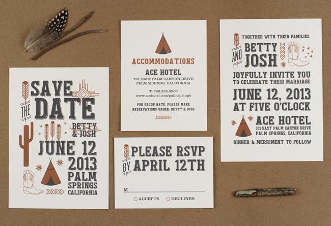 desert sky wedding invitations