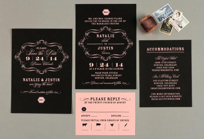black and pink wedding invitations