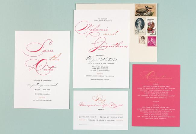 modern script wedding invitations