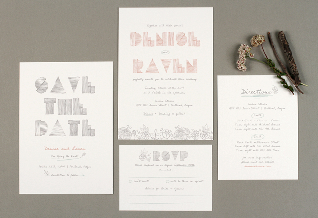 sketchbook wedding invitations