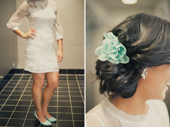 mint bridal hair clip