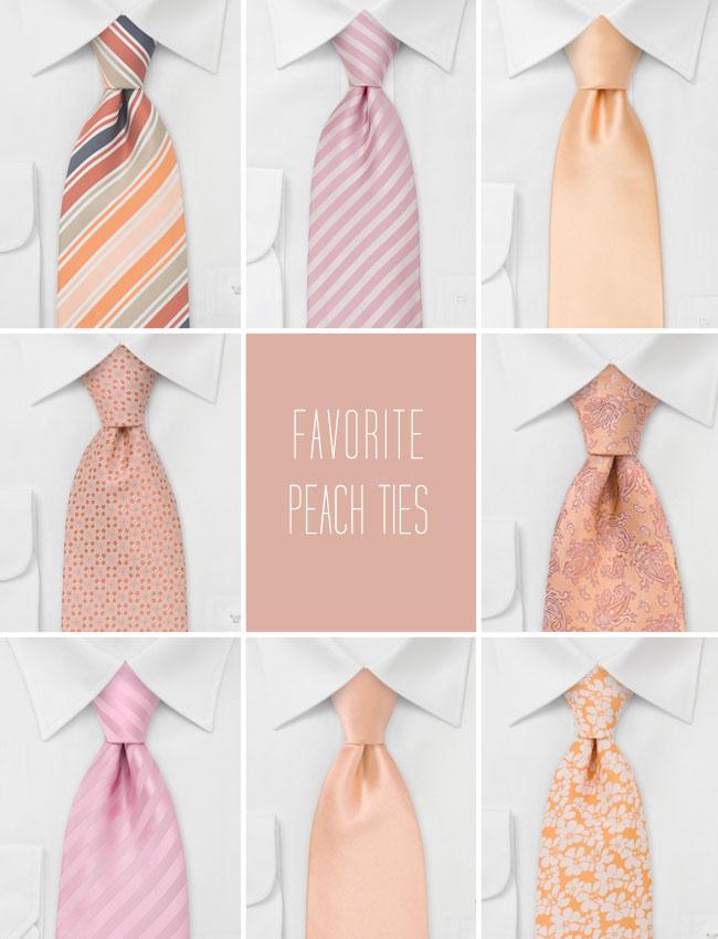 peach ties wedding