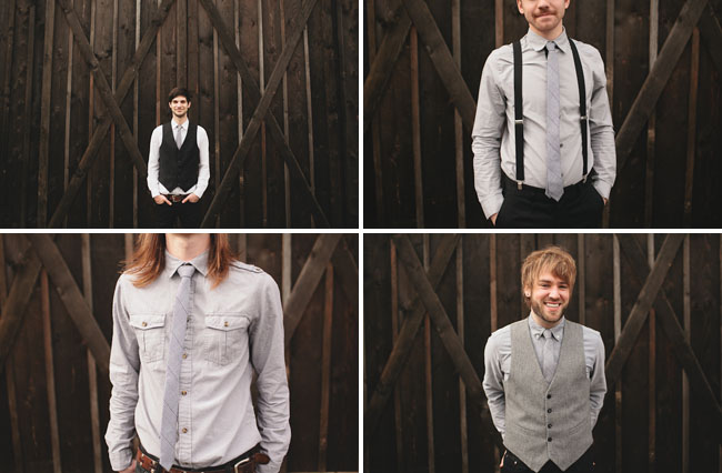 groomsmen in suspenders and ties