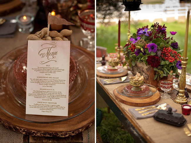 prince bride, rustic tablescape