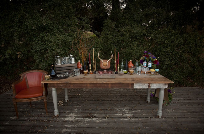 rustic tablescape bar, princess bride
