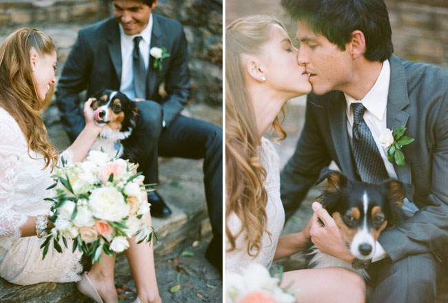 bride and groom with dog