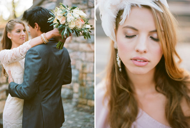 bride with feather fascinator