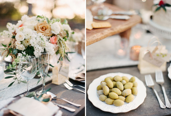 white and peach centerpieces