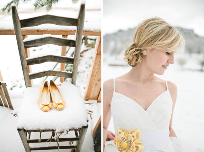 yellow bridal shoes, yellow flower bridal sash
