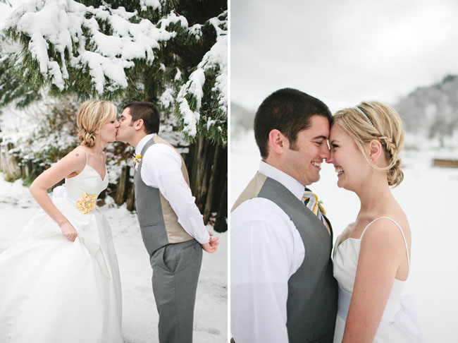 bride and groom, snow