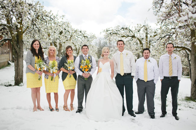 yellow bridesmaids with cardigans