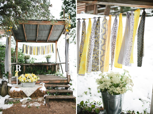 yellow and gray ribbon ceremony backdrop
