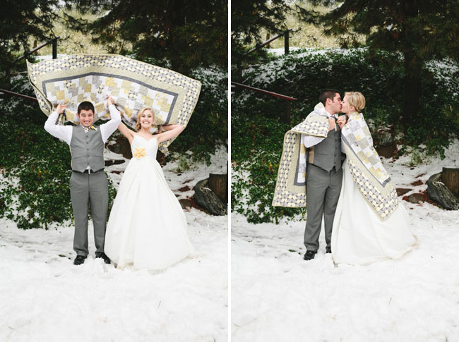 bride and groom snow wedding