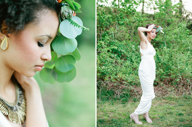 bridal shoot with floral hair piece