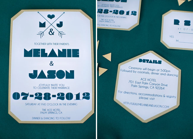 laser cut gold and teal invitations