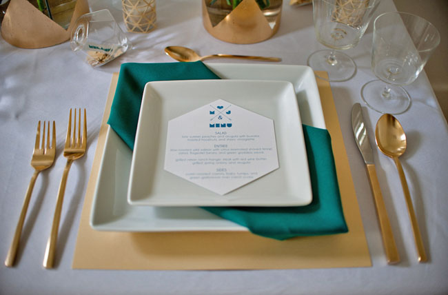 gold and teal tablecape
