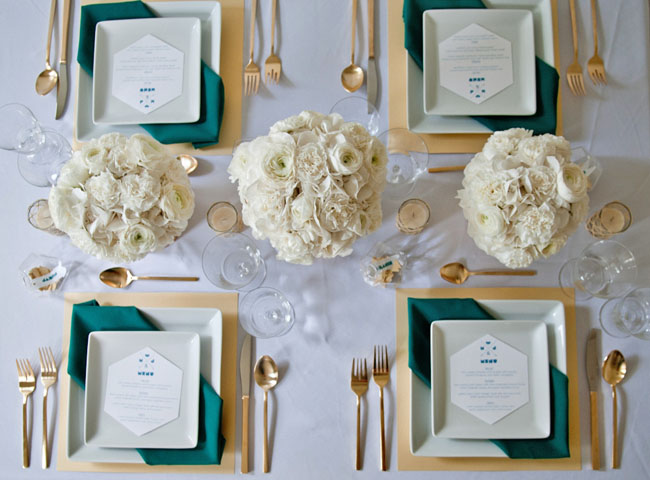 gold and teal tablescape