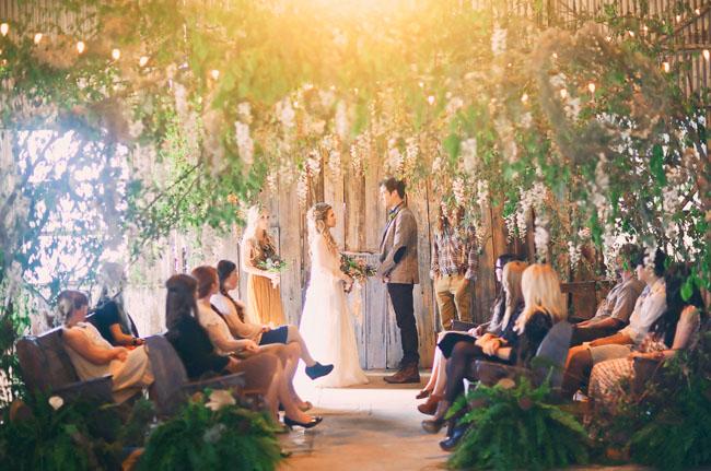 hanging trees wedding ceremony canopy & Whimsical Bohemian Wedding Inspiration