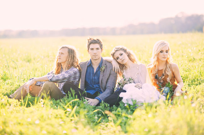 bridal party in a field