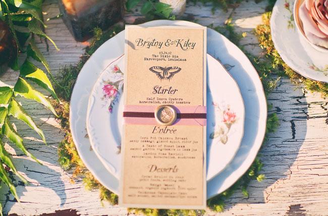 butterfly wedding menu