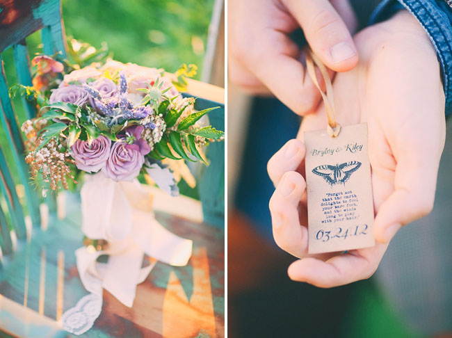 butterfly wedding date tag