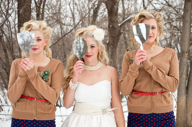 bridesmaids in sweaters and belts
