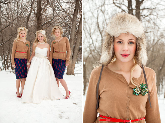 bridesmaids wearing fur caps