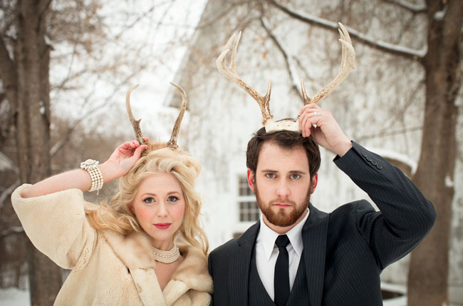 bride and groom with antlers