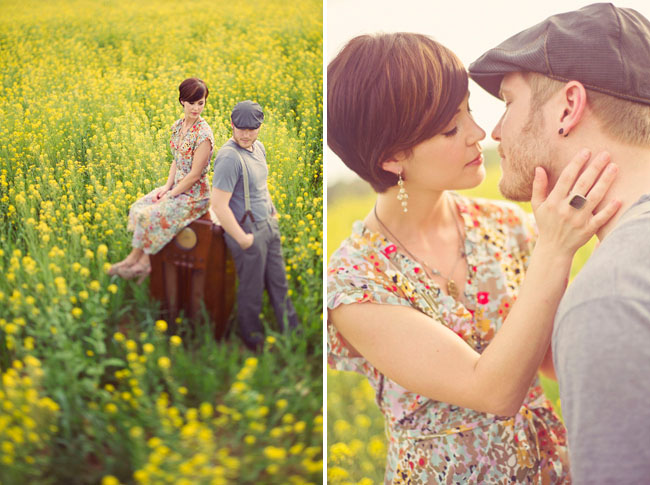 anniversary shoot in a mustard field
