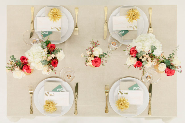 gold and tangerine tablescape