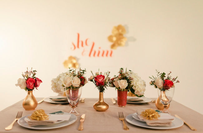 she and him wedding tablescape