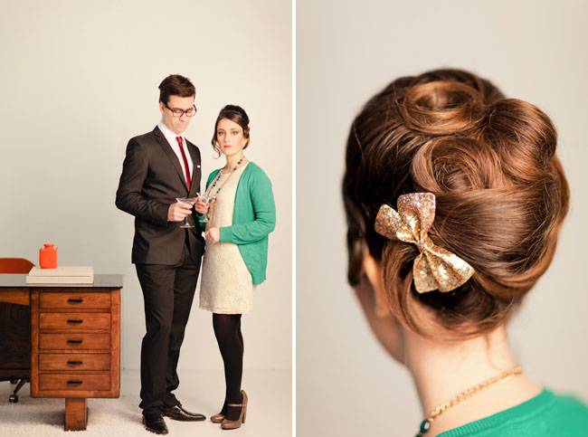 50's hair style, bow in hair
