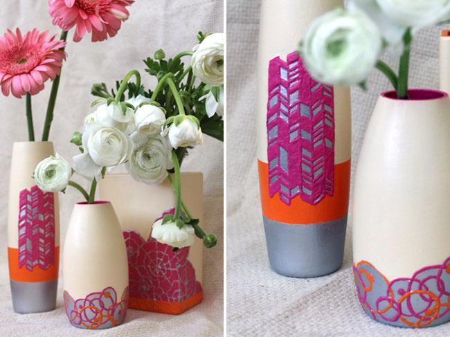 Diy textured clay vase green wedding shoes weddings - Creative glass painting ideas ...