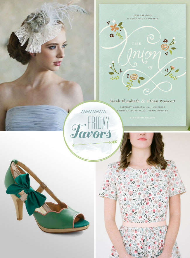 Friday Favors - green wedding shoes