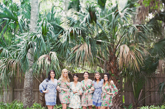 florida wedding bridesmaids in floral wraps