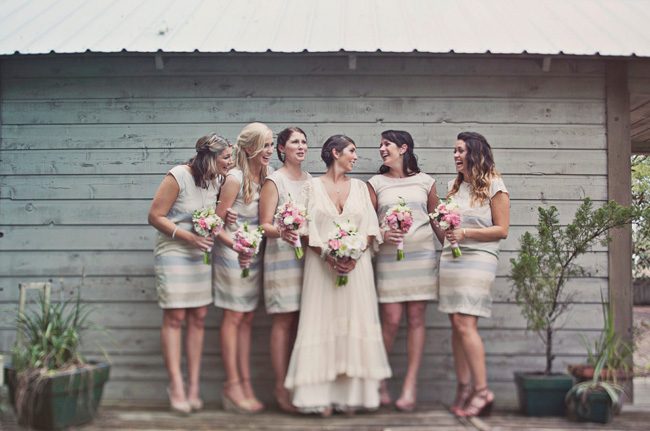 florida wedding bridesmaids in stripes