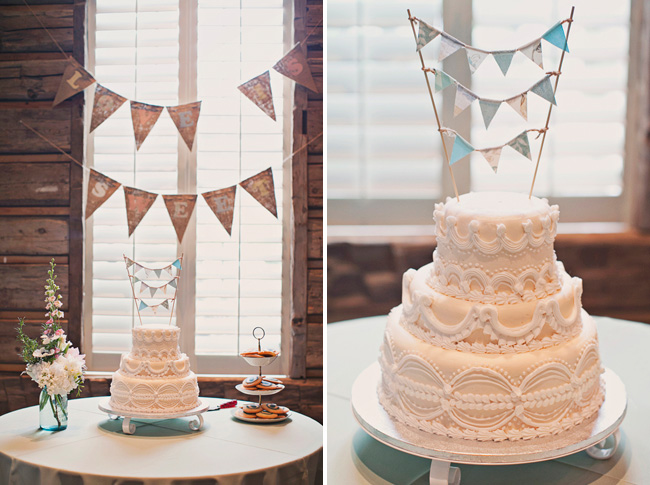wedding cake with bunting topper