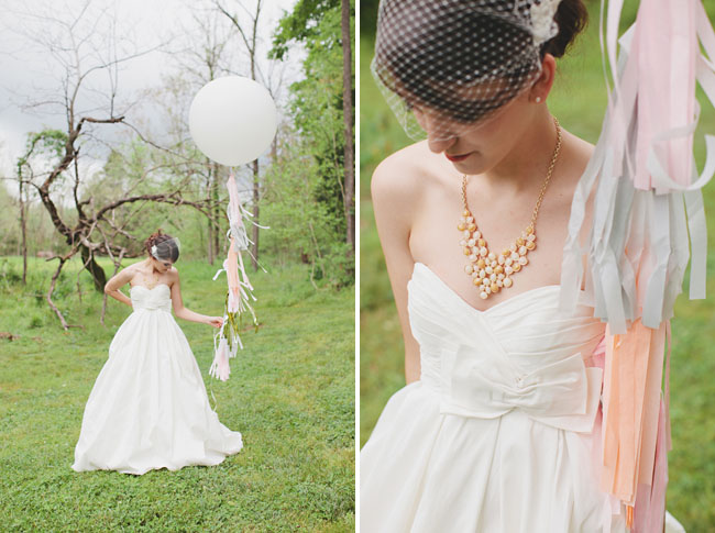 bride and giant white balloon