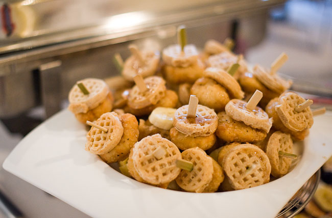 mini chicken and waffles reception food