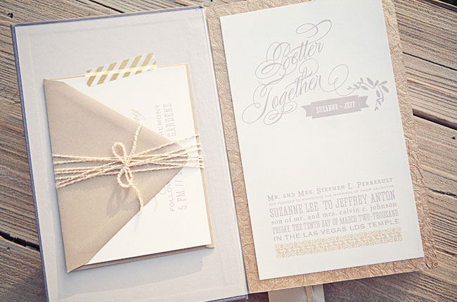 brown and striped invite