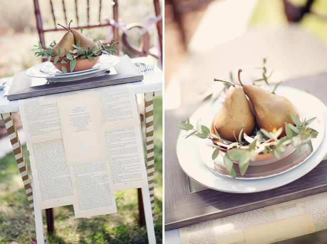 gold pear centerpieces