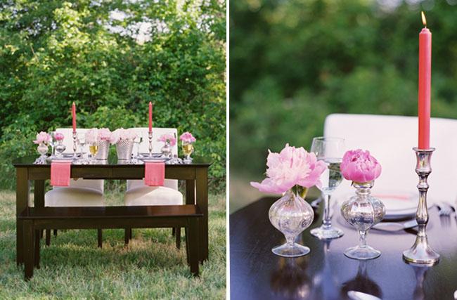 DIY pink peony tabletop