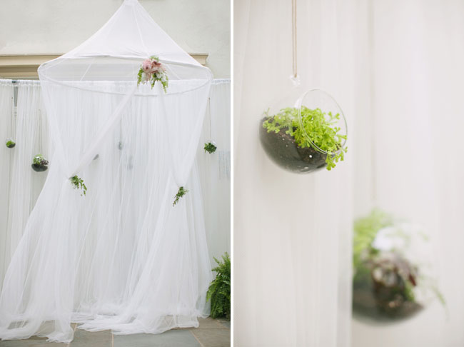 tulle canopy with hanging terrariums